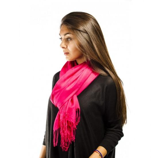 Цикламен дамски едноцветен шал