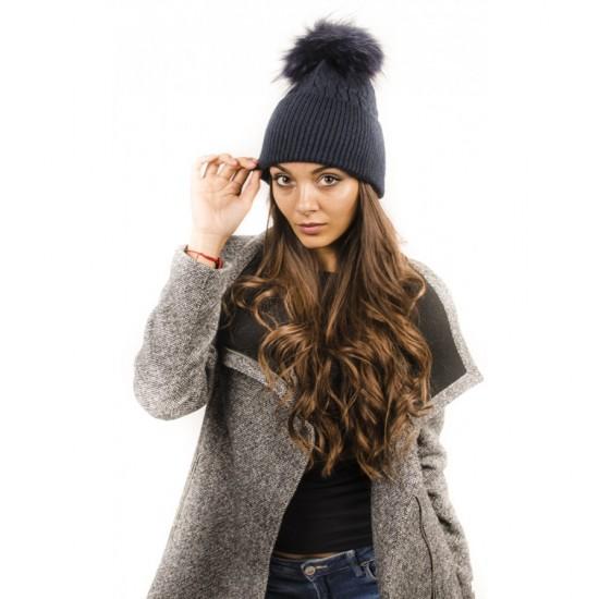 Тъмносиня дамска шапка зимна