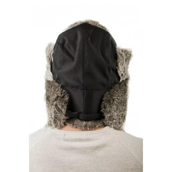 Черна мъжка ушанка естествен пух