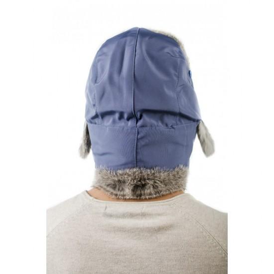 Синя мъжка ушанка естествен пух