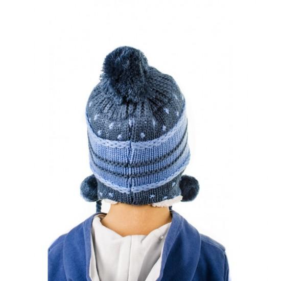 Синя детска ушанка за момчета