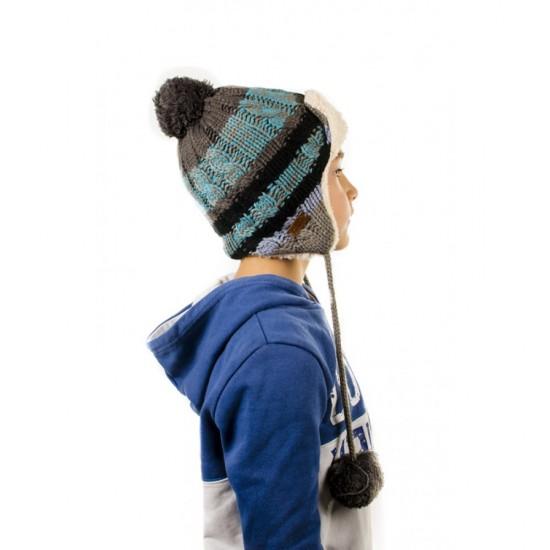 Зимна детска ушанка в синьо и зелено