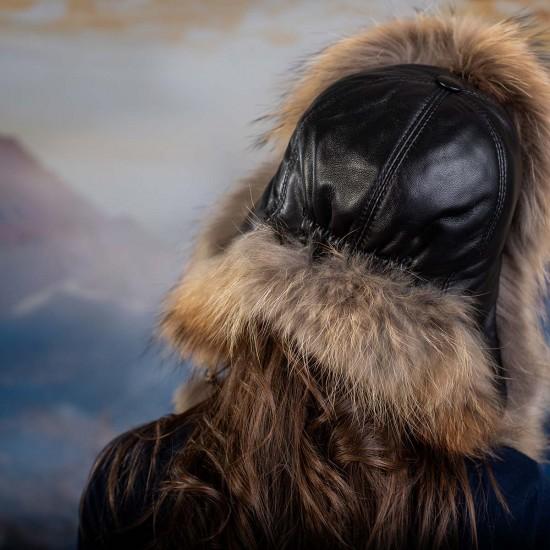 Дамска шапка пухкав естествен косъм
