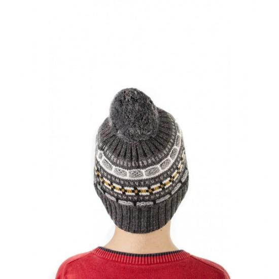Детска зимна шапка с помпон в тъмносиво