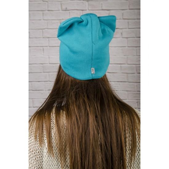 Синя дамска зимна шапка с панделка