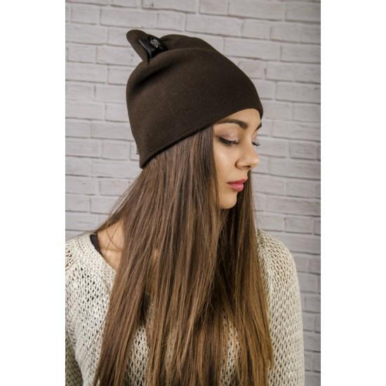 Тъмнокафява дамска зимна шапка с панделка