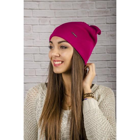 Цикламена дамска зимна шапка с панделка