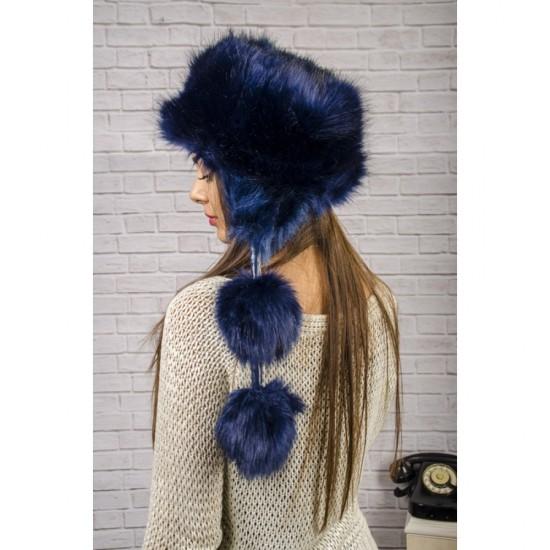 Тъмносиня пухкава зимна дамска шапка