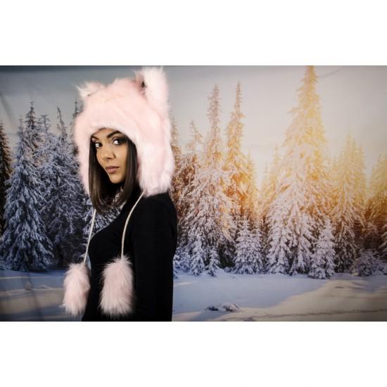 Розова зимна шапка анимал