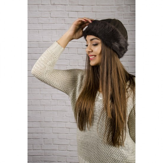Дамска кожена зимна шапка калпак в тъмнокафяво