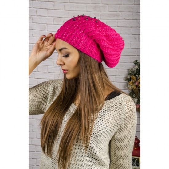 Дамска увиснала зимна шапка в розово