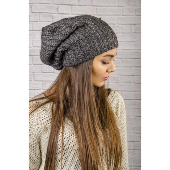 Дамска увиснала зимна шапка в графитен цвят