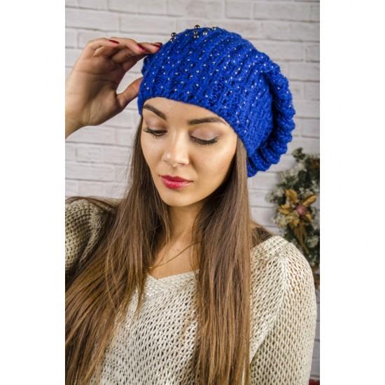 Дамска увиснала зимна шапка в синьо