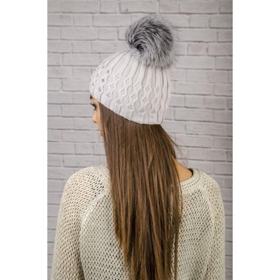 Сива дамска зимна шапка помпон от лисица