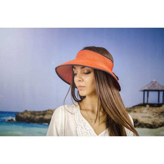 Лятна оранжева дамска козирка регулируема с връзки