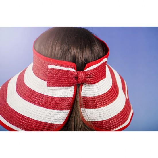 Лятна раирана дамска козирка регулируема с лепки в червено и бяло