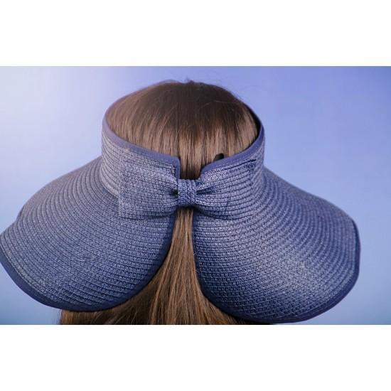 Лятна дамска козирка регулируема с лепки в синьо