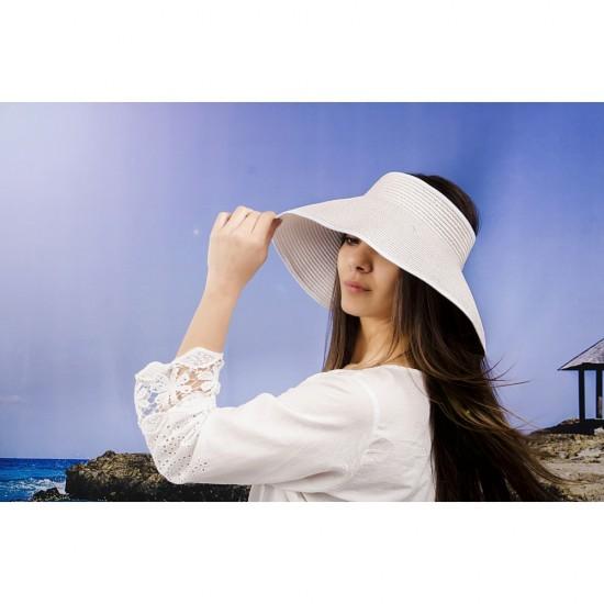 Лятна дамска козирка регулируема с лепки в бяло