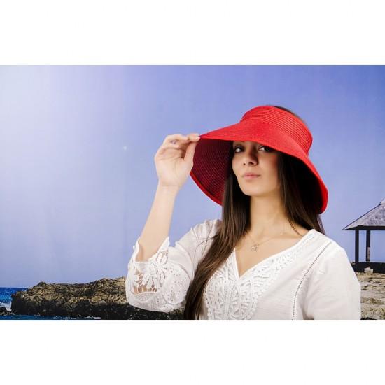 Лятна дамска козирка регулируема с лепки в червено