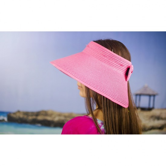 Лятна дамска козирка регулируема с лепки в розово