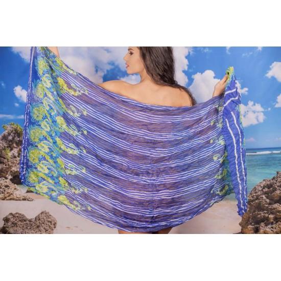 Ефирен плажен шал в синьо