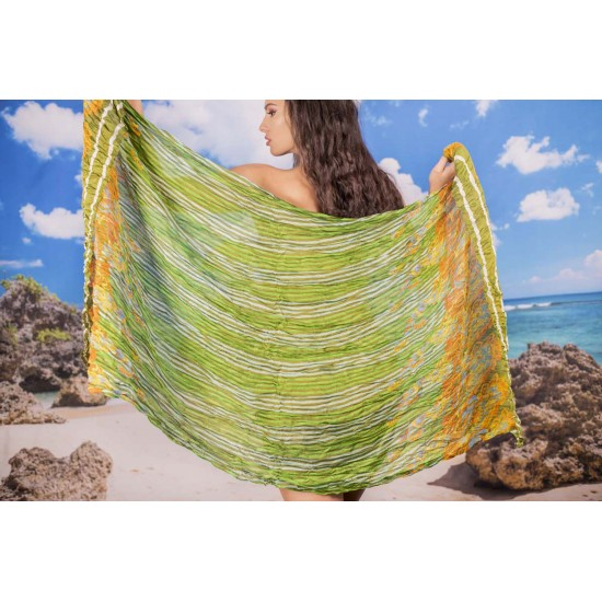 Ефирен плажен шал в зелено, жълто, оранжево