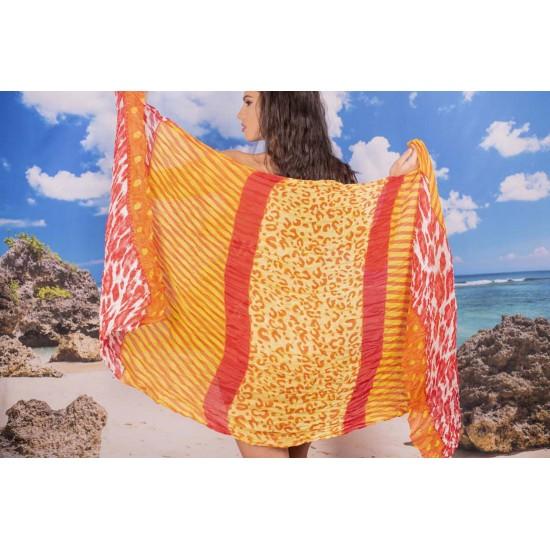 Ефирен плажен шал в червено и жълто