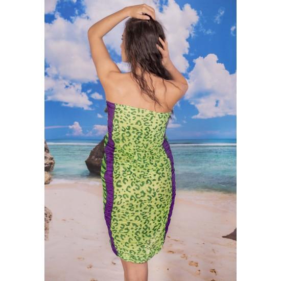 Ефирен плажен шал в зелено и лилаво