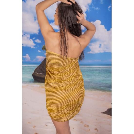 Ефирен плажен шал в цвят горчица