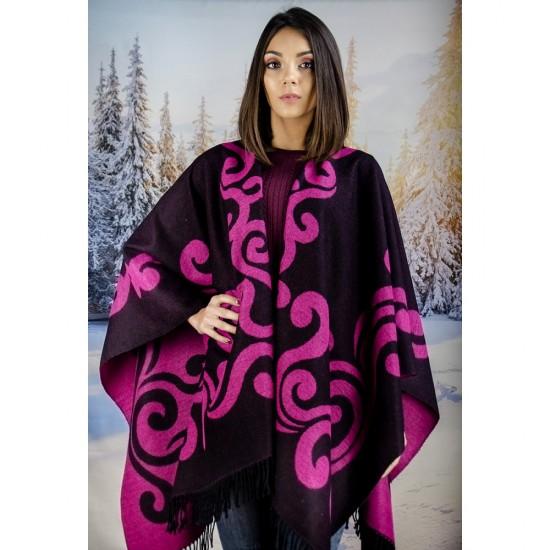 Дамски двулицев зимен шал тип пончо циклама